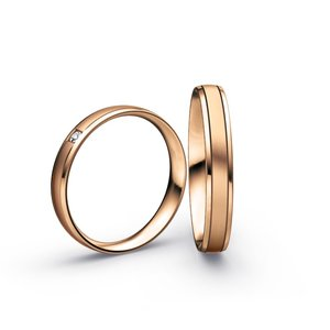 Mooye trouwringen in 14 karaat 585 rosé goud en diamanten per paar