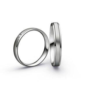 Mooye trouwringen in Palladium 950 en diamanten per paar